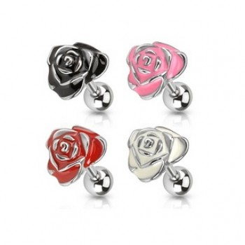 Enamel Rose Ear Tragus Bar